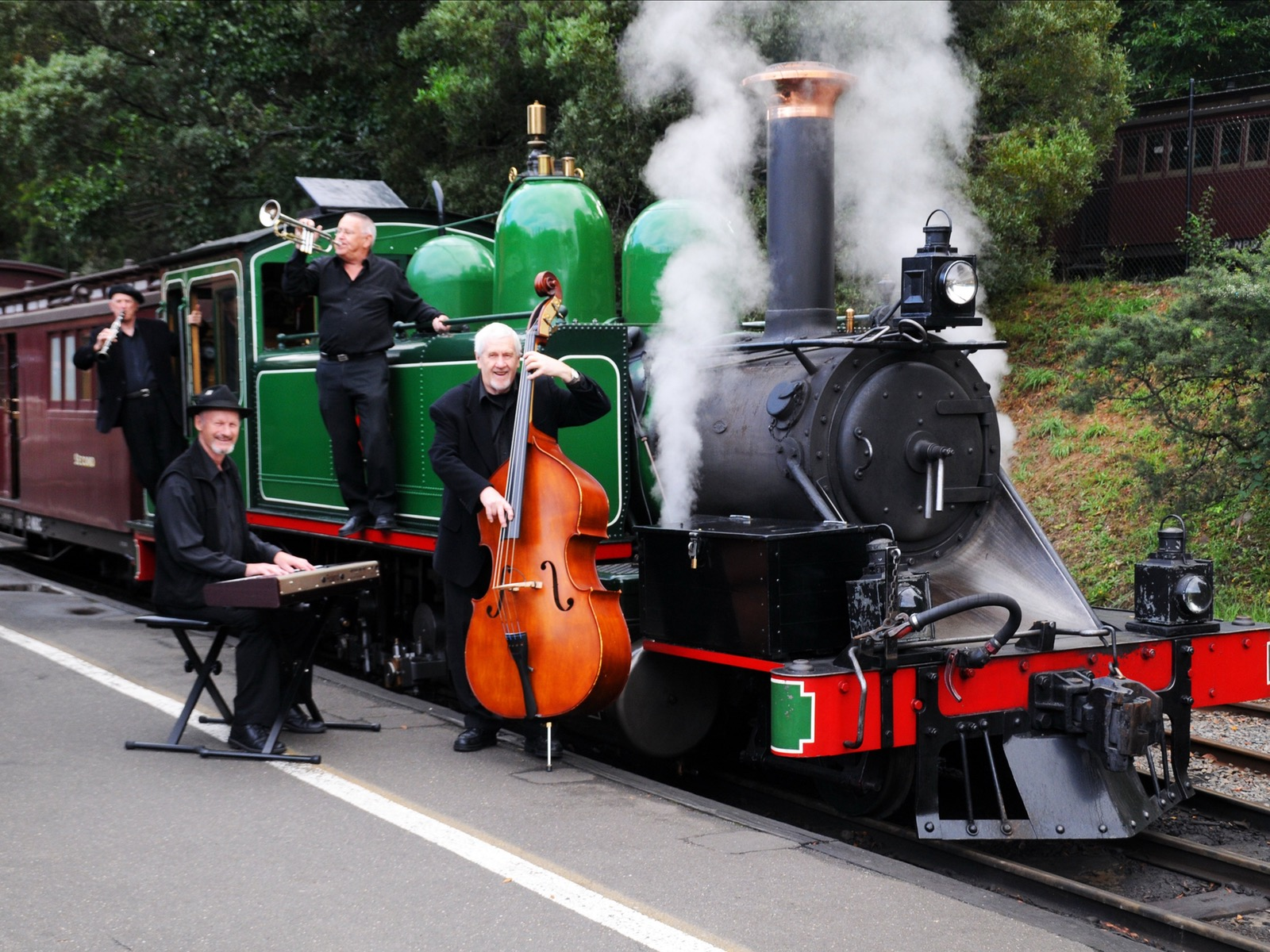 The Mast Gully Quartet Jazz band at Puffing Billy Railway