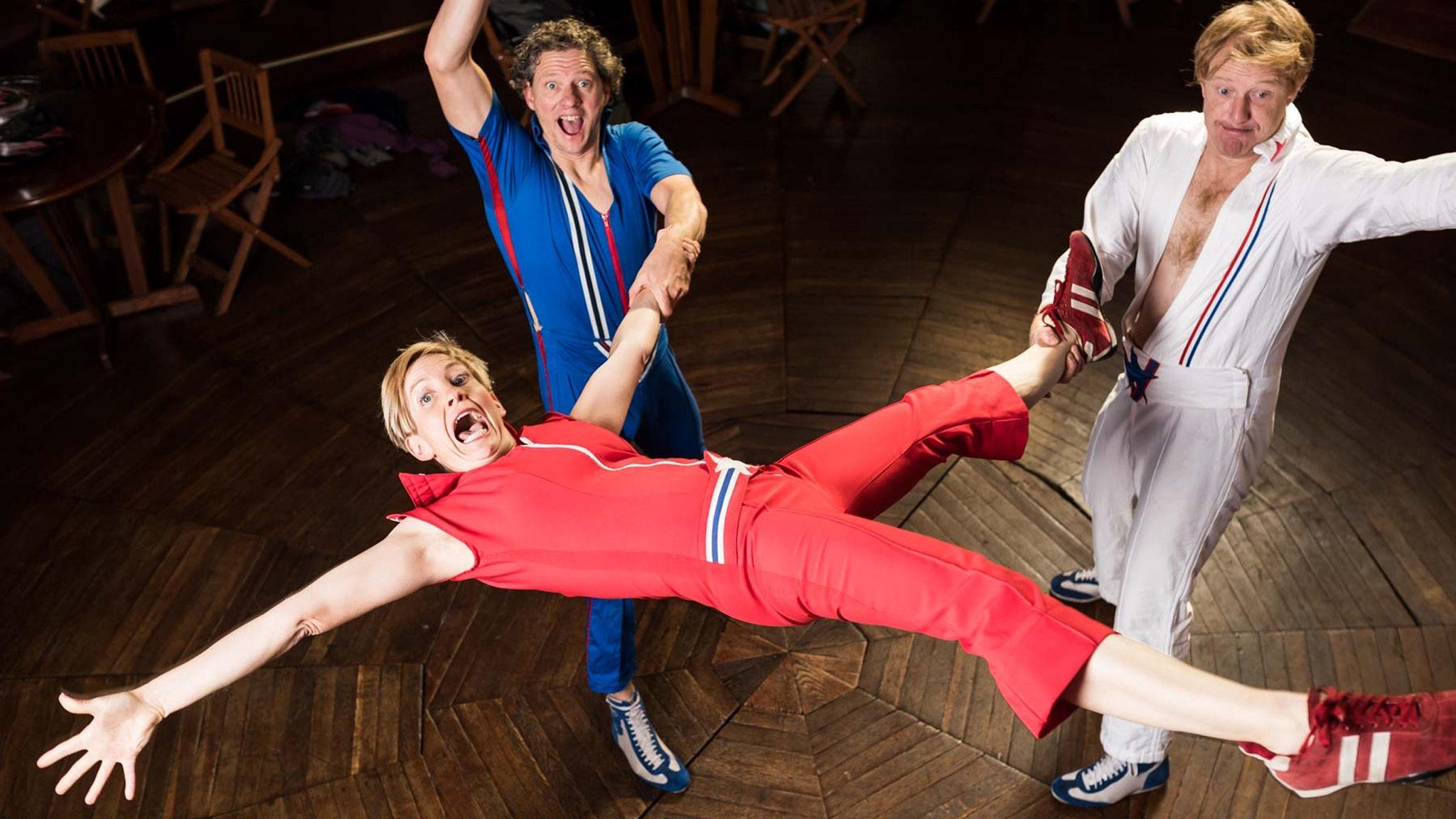 Image: Circus Oz 2016 presents 3 Speed Crunch Box Performers: Kate Fryer, Geoffrey Dunstan and Luke