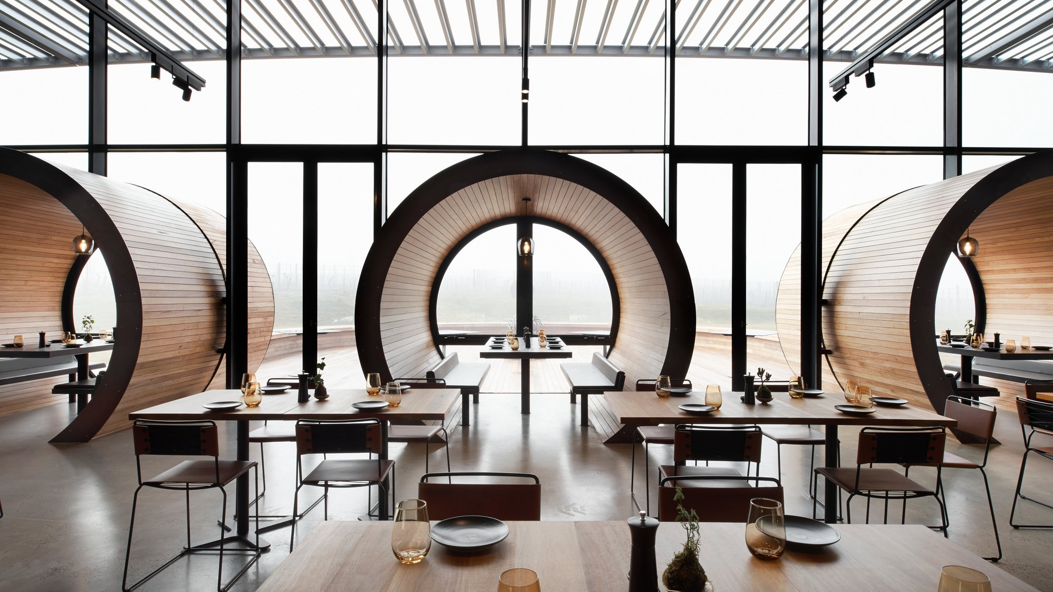 The barrel booths in the all day dining space