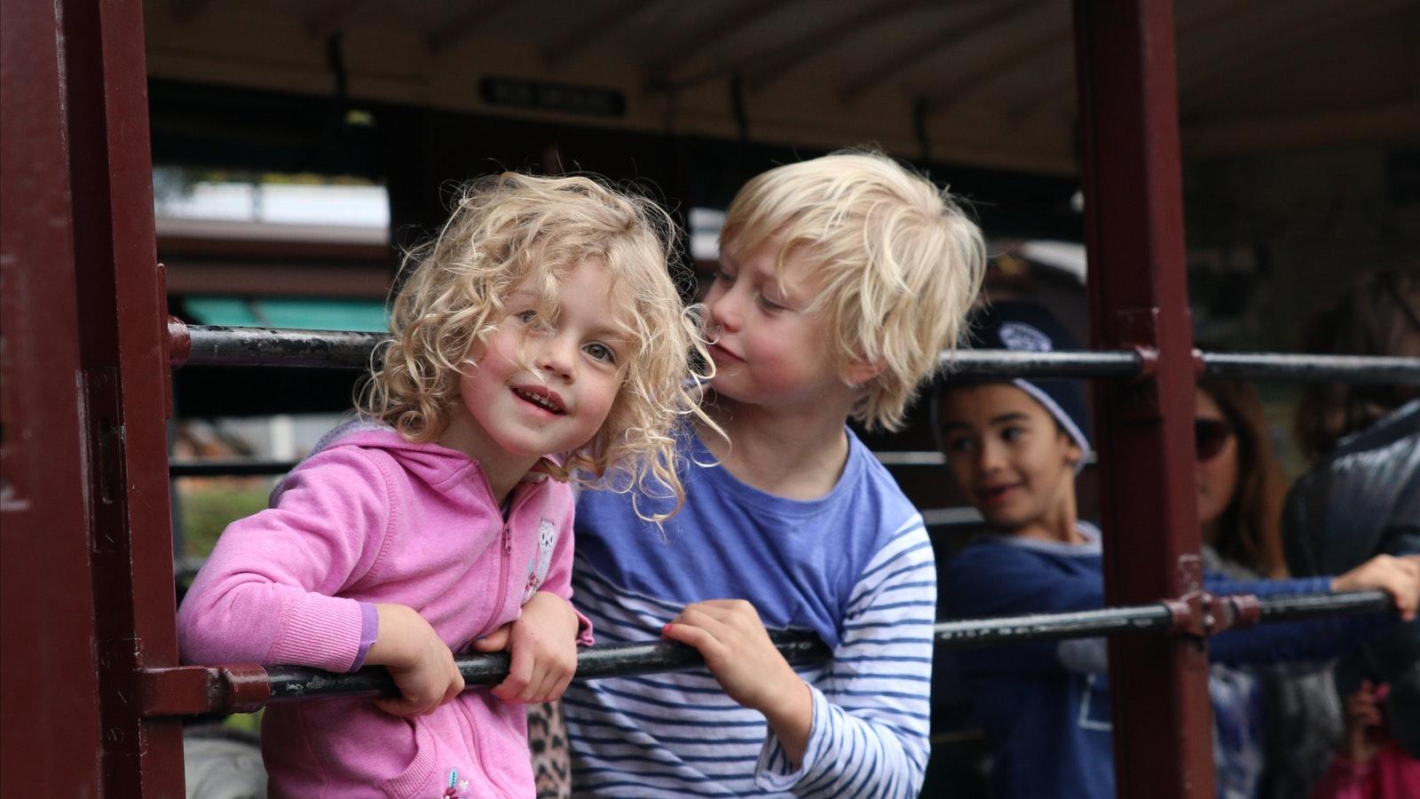 Children on board train