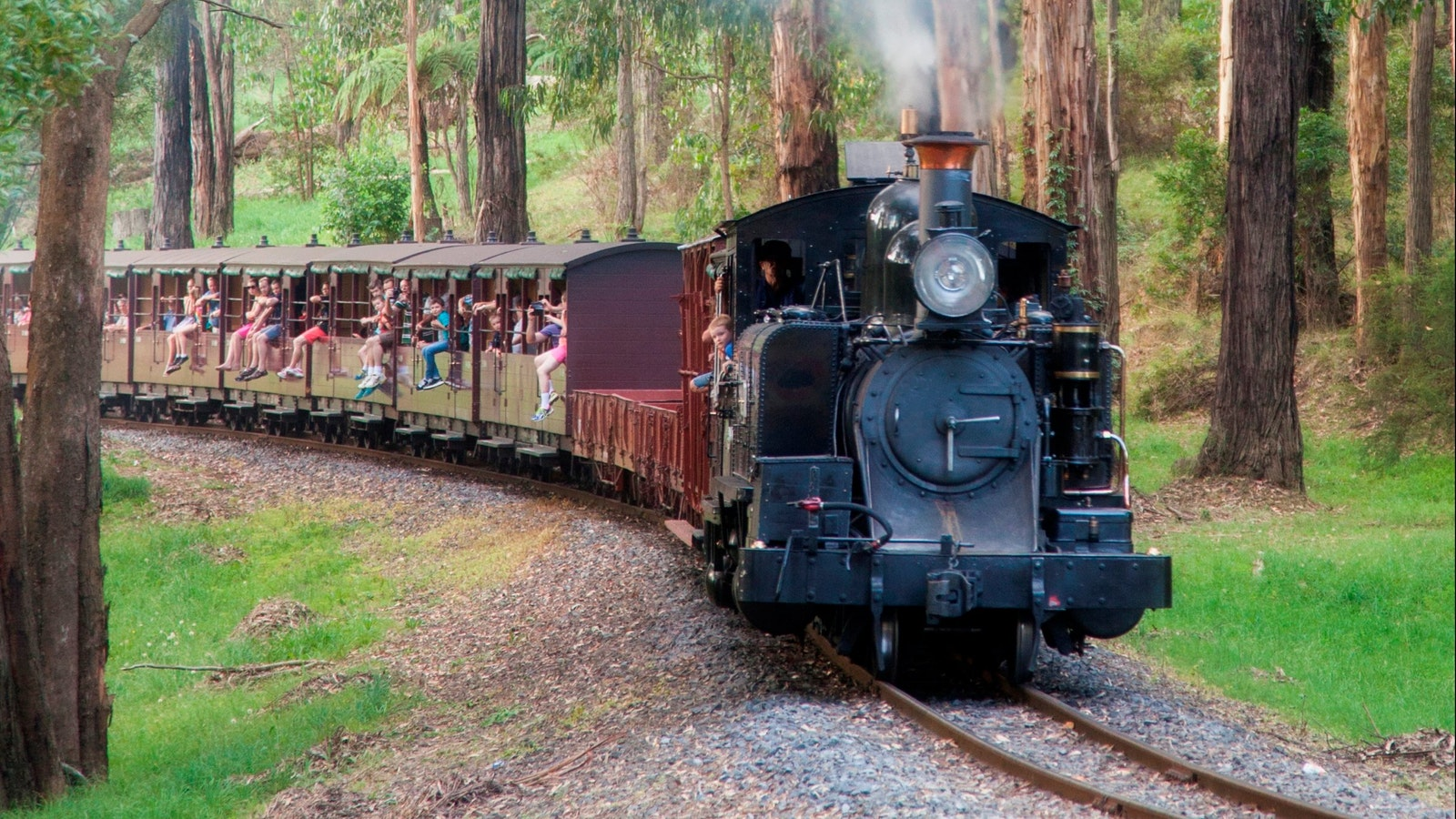 Puffing Billy with carriages