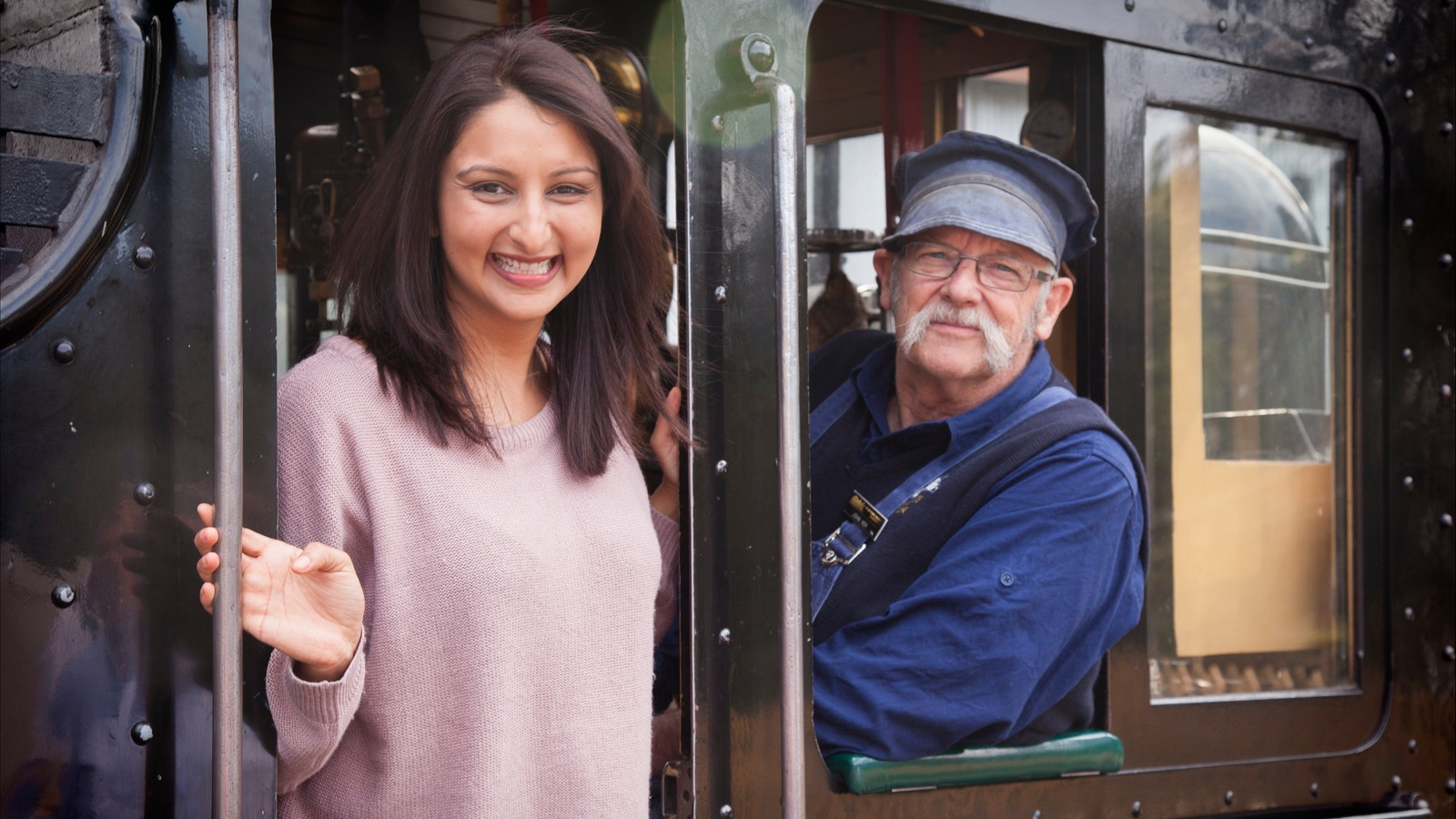 International visitor with Puffing Billy train driver