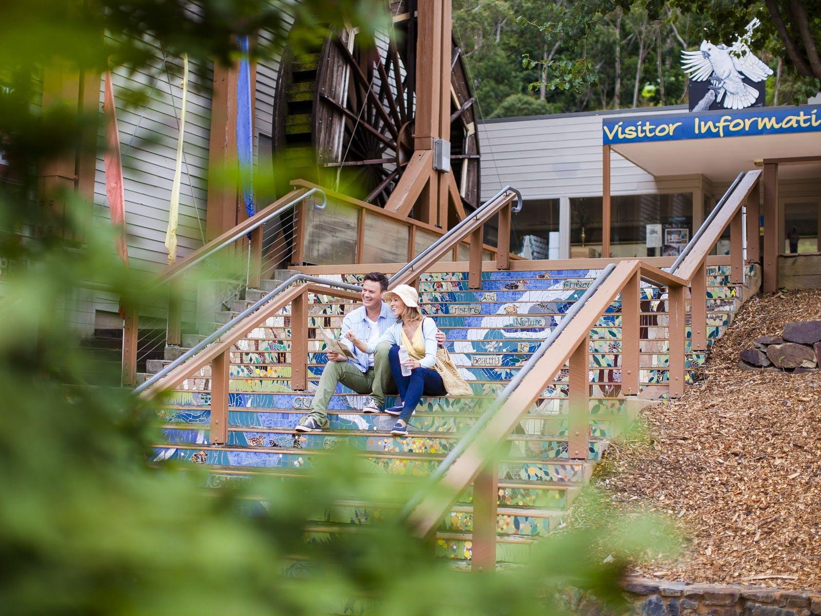 Visit Warburton, Great steps at The Waterwheel