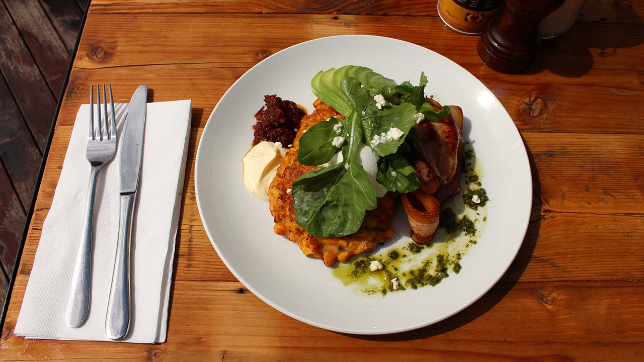 Corn fritters at Moto Bean Coffee Roasters, Malsbury, Daylesford and the Macedon Ranges