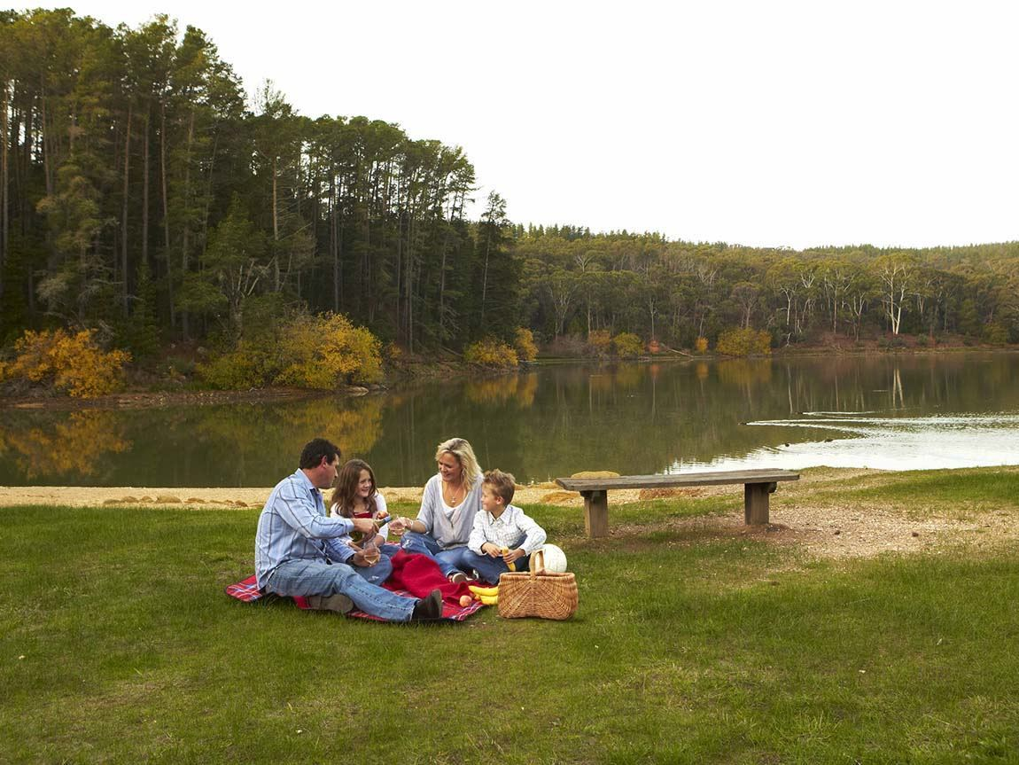 Picnicking at St George Lake, Creswick, Daylesford and the Macedon Ranges, Victoria, Australia