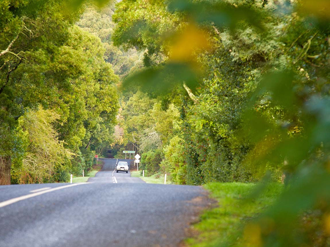 Driving in the Hanging Rock area, Daylesford and the Macedon Ranges, Victoria, Australia
