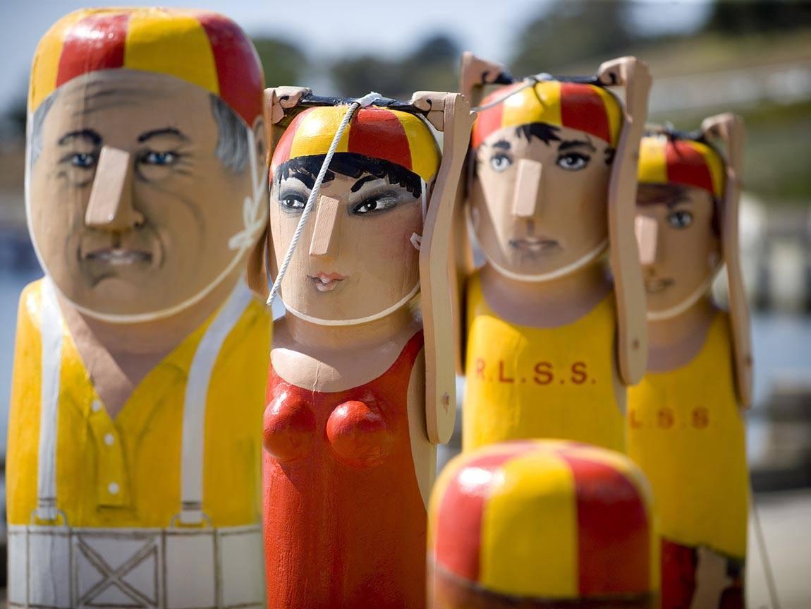 Bollards, Geelong waterfront, Great Ocean Road, Victoria, Australia. Bollard artist: Jan Mitchell