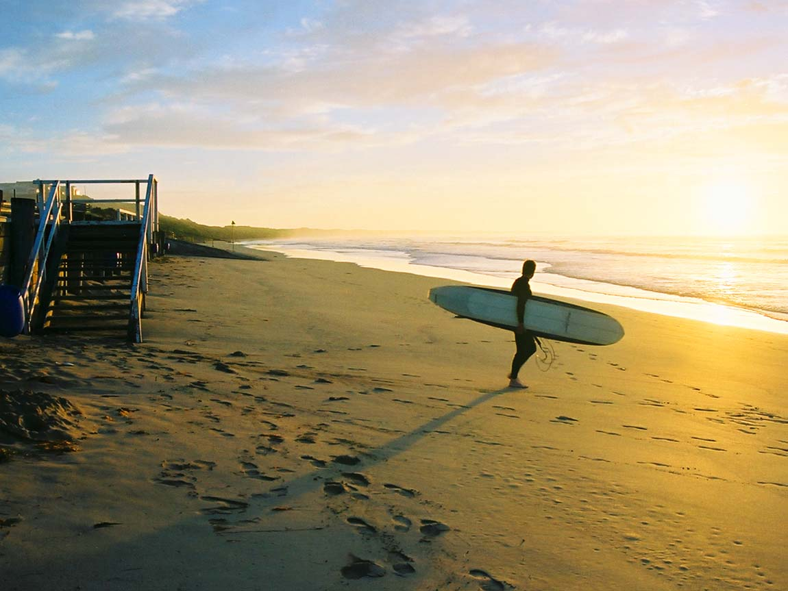 Surfer at sunrise, Geelong and the Bellarine, Victoria, Australia