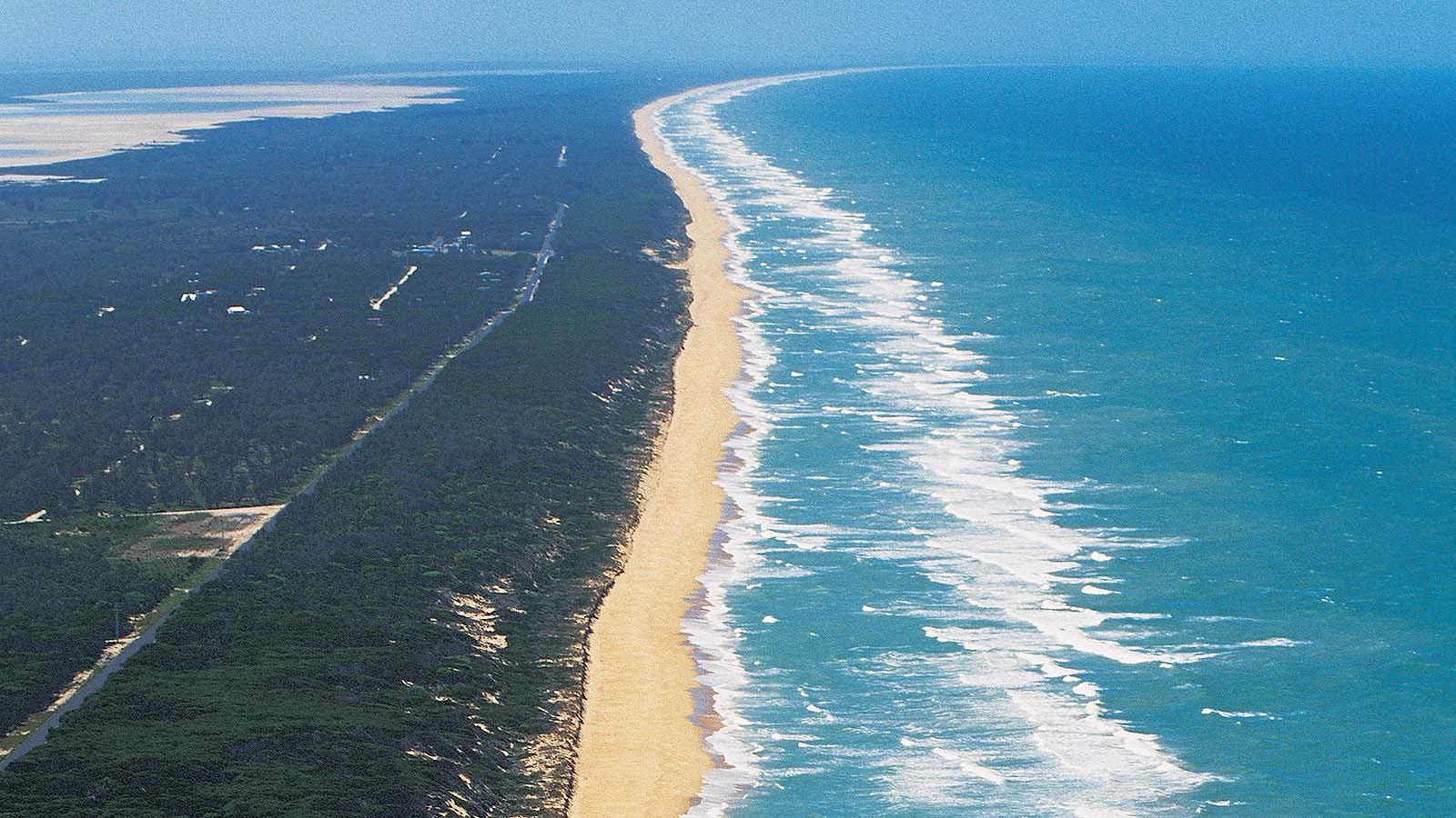 Aerial view of Ninety Mile Beach, Gippsland, Victoria, Australia