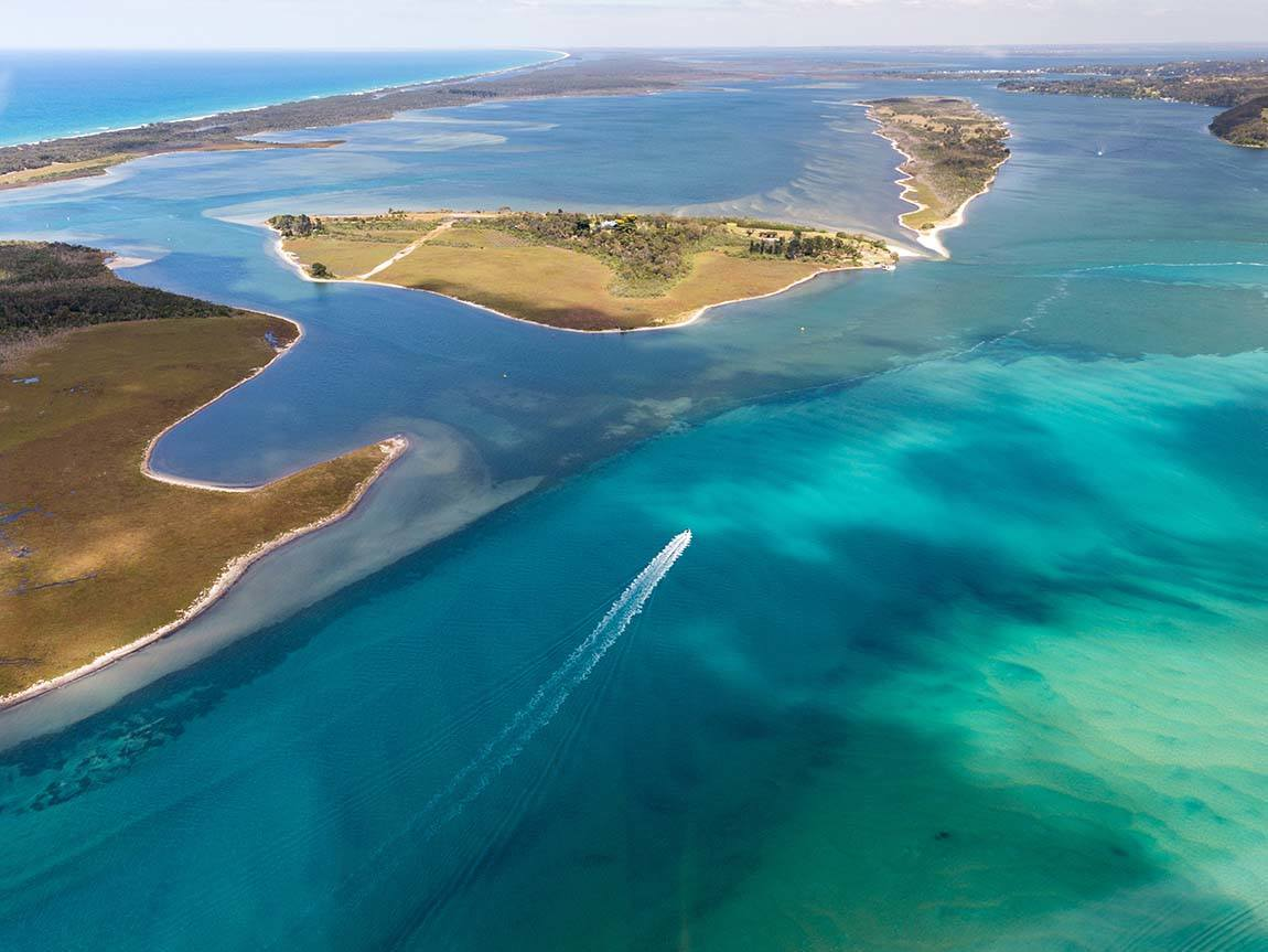Aerial view of Gippsland Lakes, Gippsland, Victoria, Australia