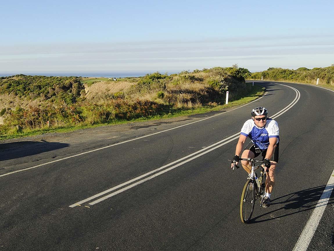 Road cycling in Inverloch, Gippsland, Victoria, Australia