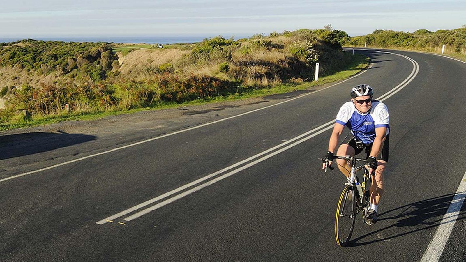 Road cycling near Inverloch, Gippsland, Victoria, Australia