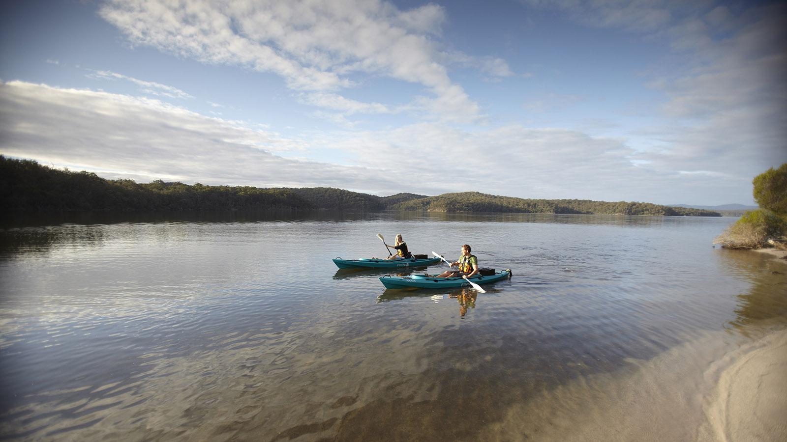 Kayaking at Gippsland Lakes, Gippsland, Victoria, Australia