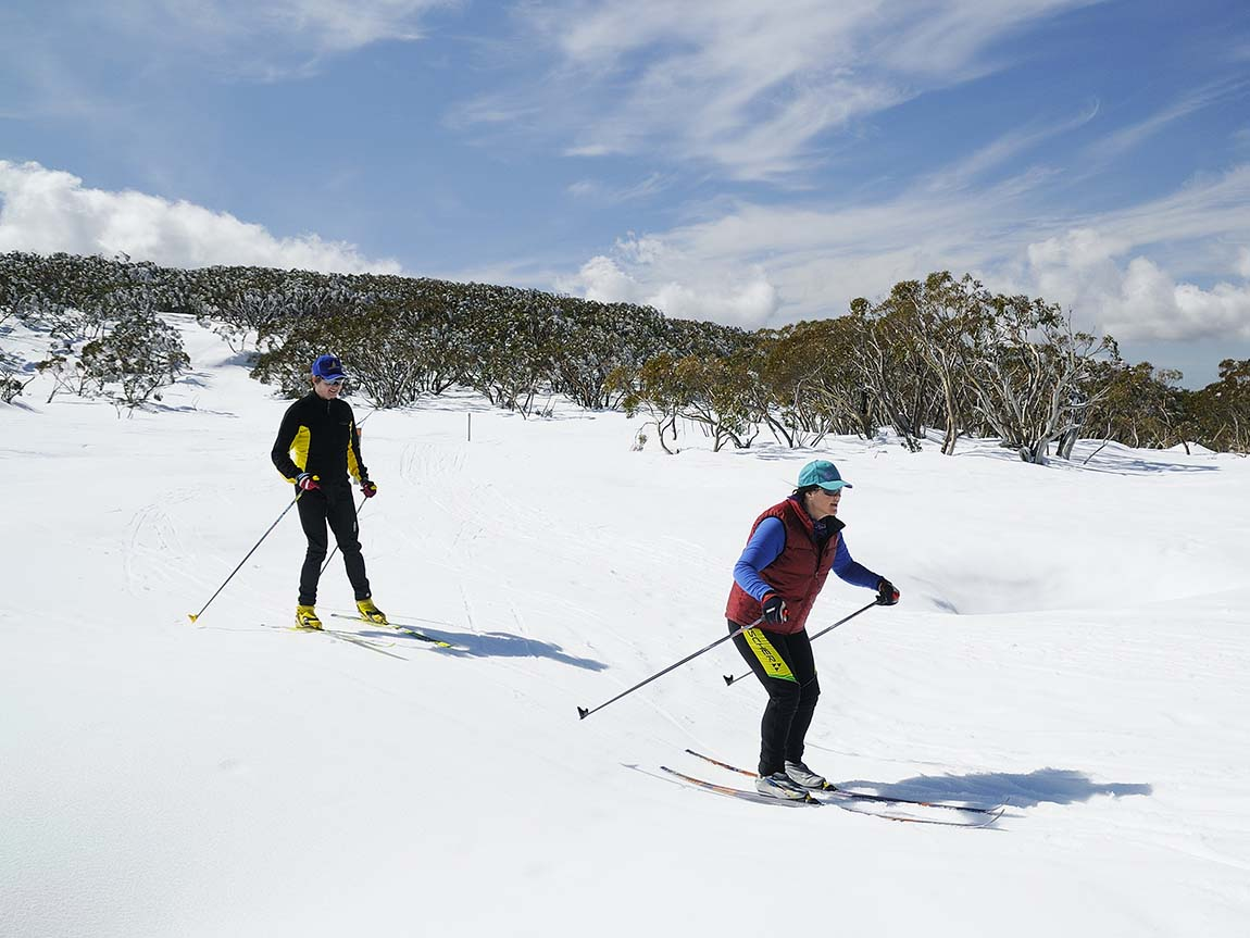 Cross-country skiing at Mount Baw Baw, Gippsland, Victoria, Australia
