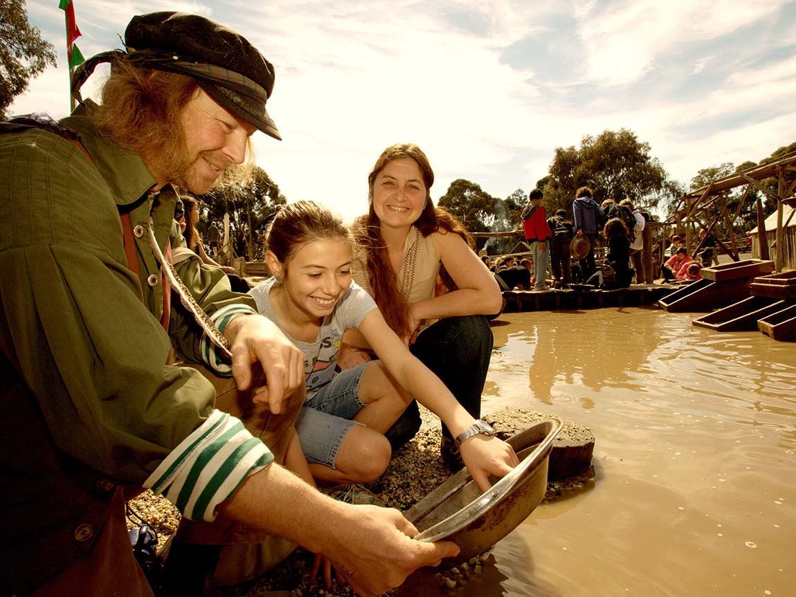 Gold panning at Sovereign Hill, Ballarat, Goldfields, Victoria, Australia