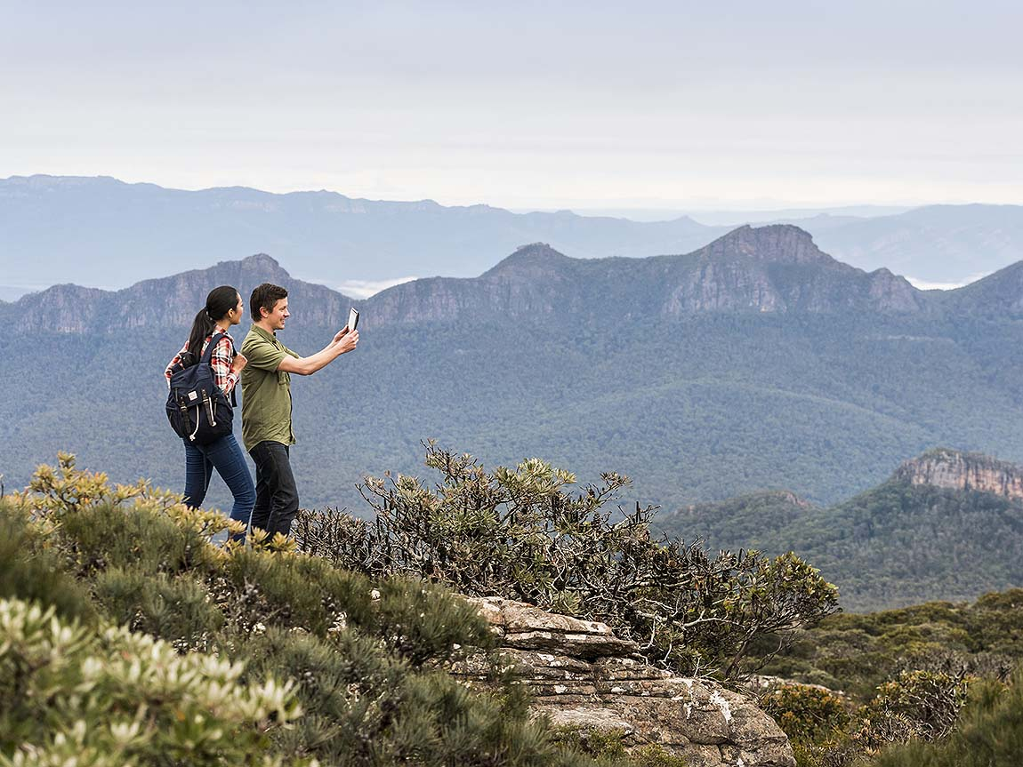 Aboriginal guided hike on Mount William, Grampians, Victoria, Australia