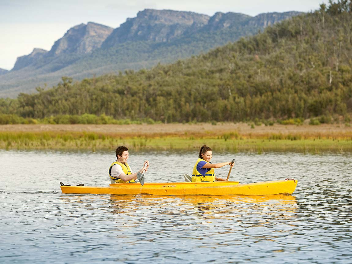 Canoeing on Lake Bellfield, Grampians, Victoria, Australia