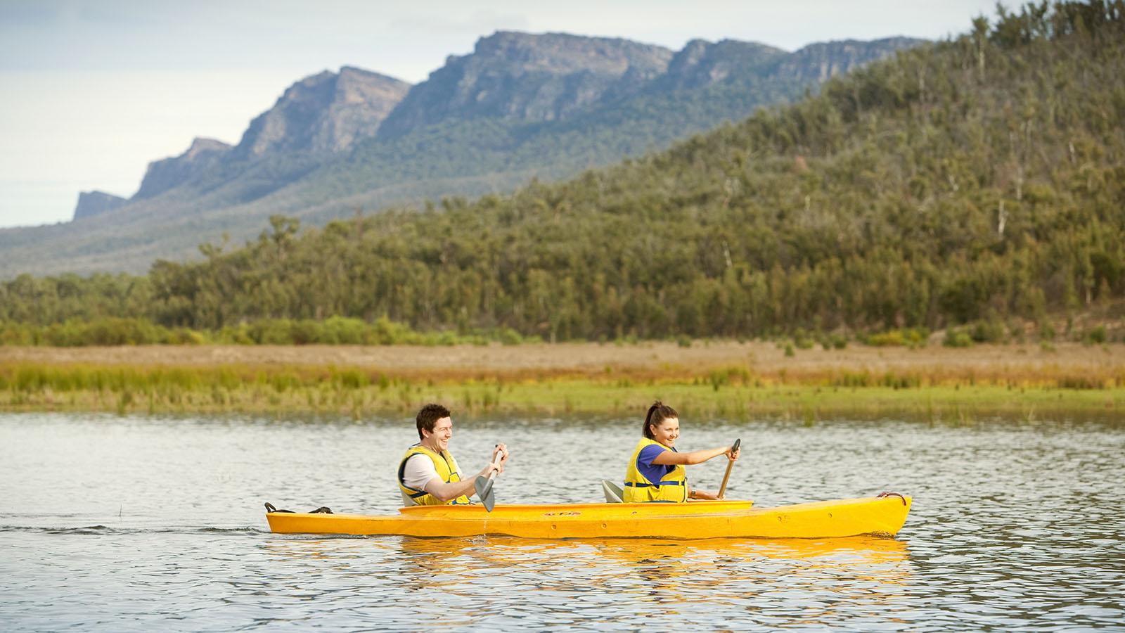Canoeing at Lake Bellfield, The Grampians, Victoria, Australia