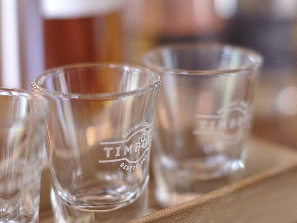 Tasting glasses at Timboon Railway Shed Distillery, Great Ocean Road, Victoria, Australia