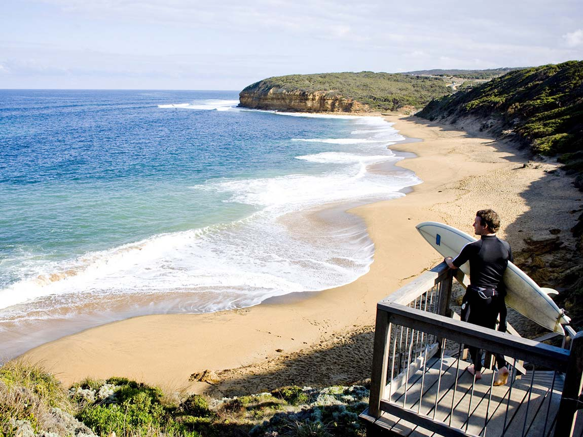 Surfer at Bells Beach, Torquay, Great Ocean Road, Victoria, Australia