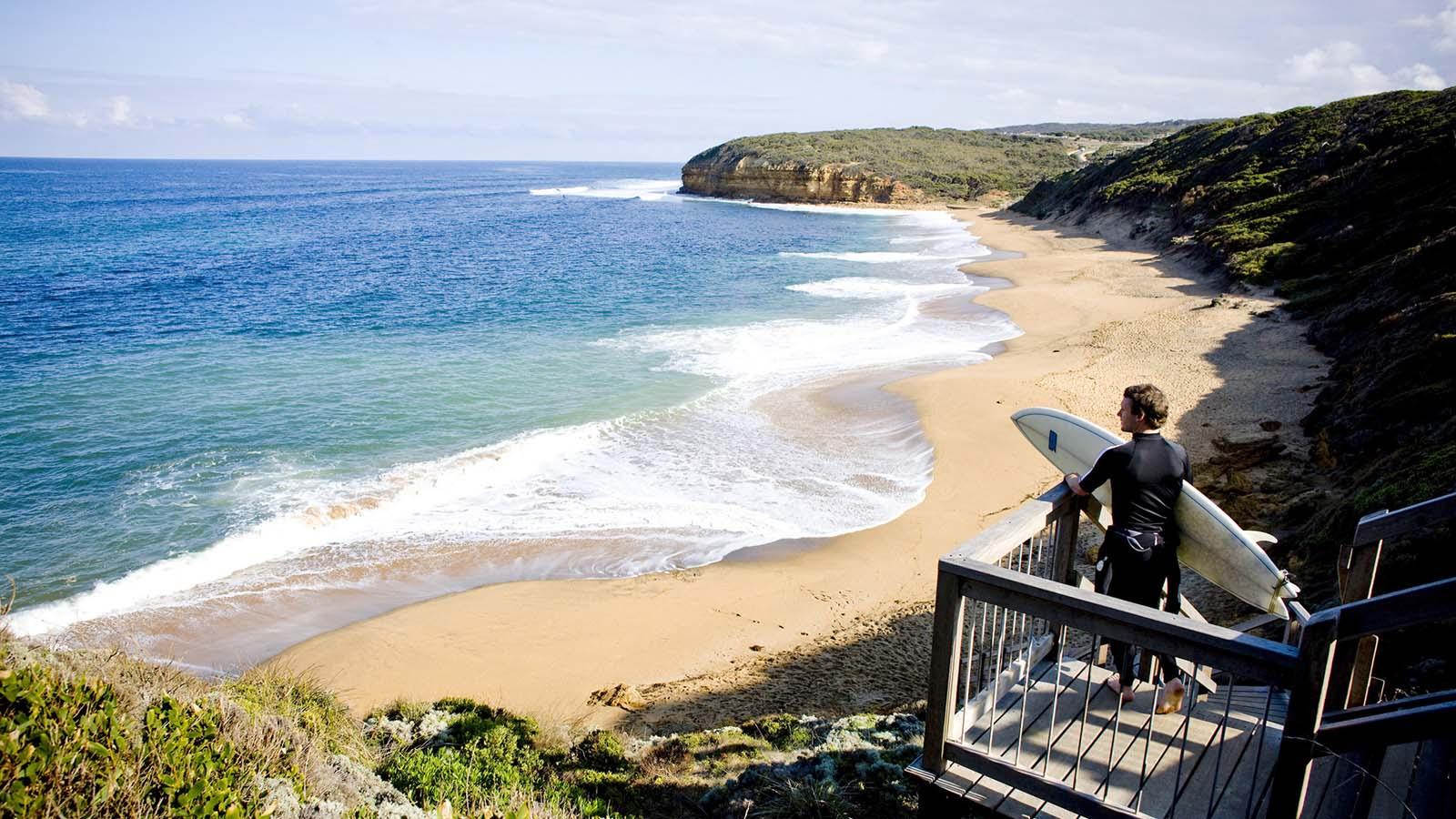 Surfer at Bells Beach, Torquay, Great Ocean Road, Victoria, Australia