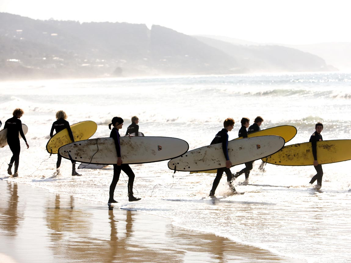 Surfing at Lorne, Great Ocean Road, Victoria, Australia