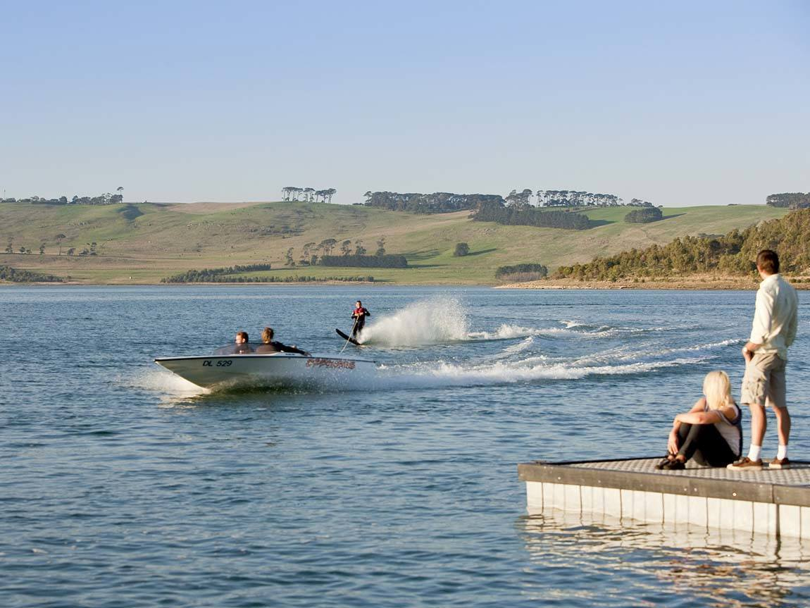 Waterskiing on Lake Bullen Merri, Great Ocean Road, Victoria, Australia