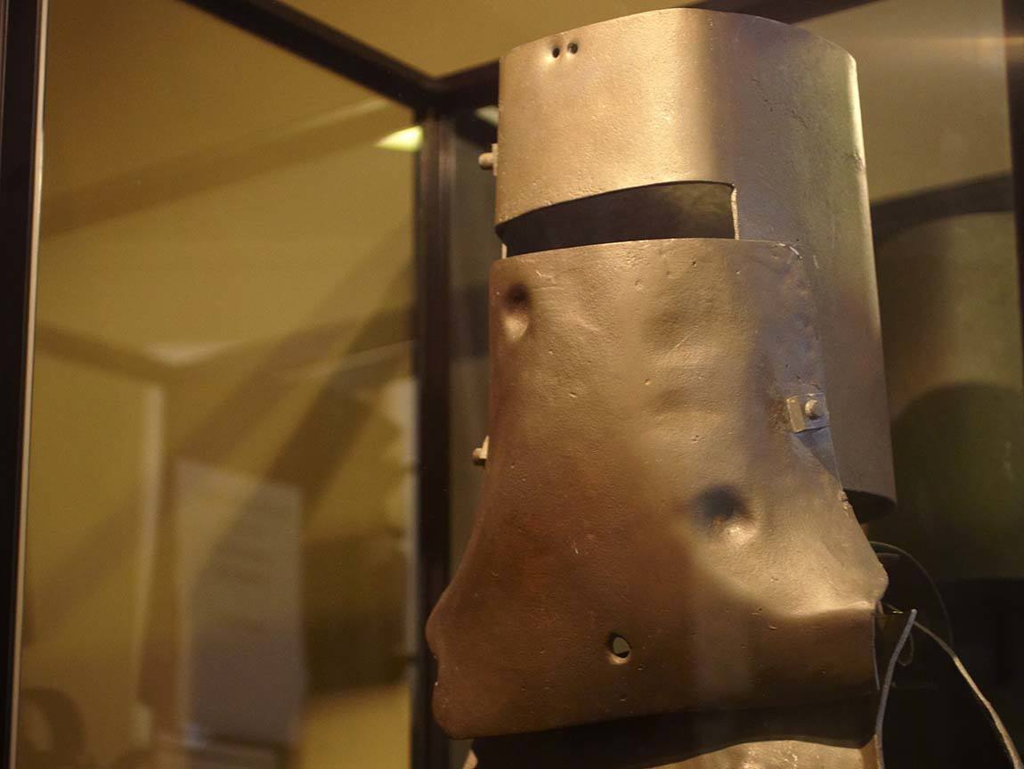 Replica Ned Kelly armour at the Beechworth Courthouse, Beechworth, High Country, Victoria, Australia