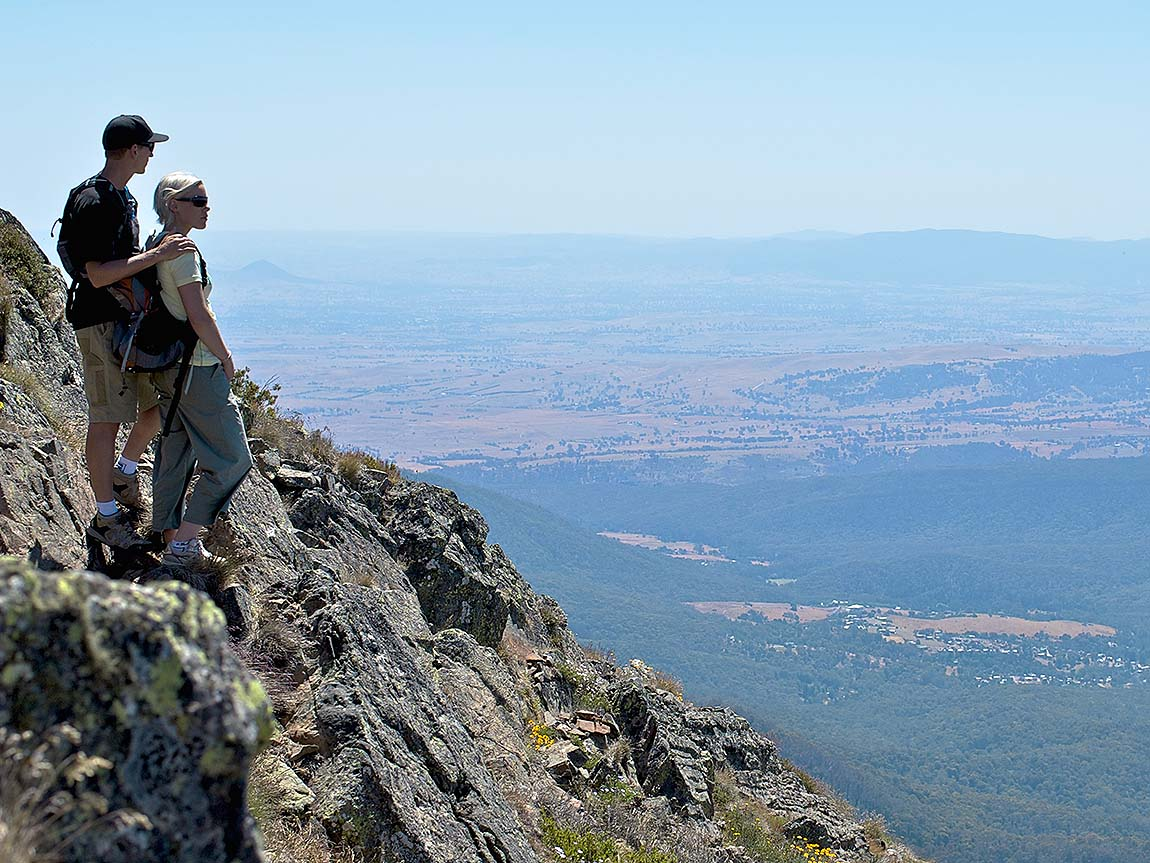 Couple on the Mount Buller summit, High Country, Victoria, Australia. Image: Tony Harrington, courtesy Mt Buller