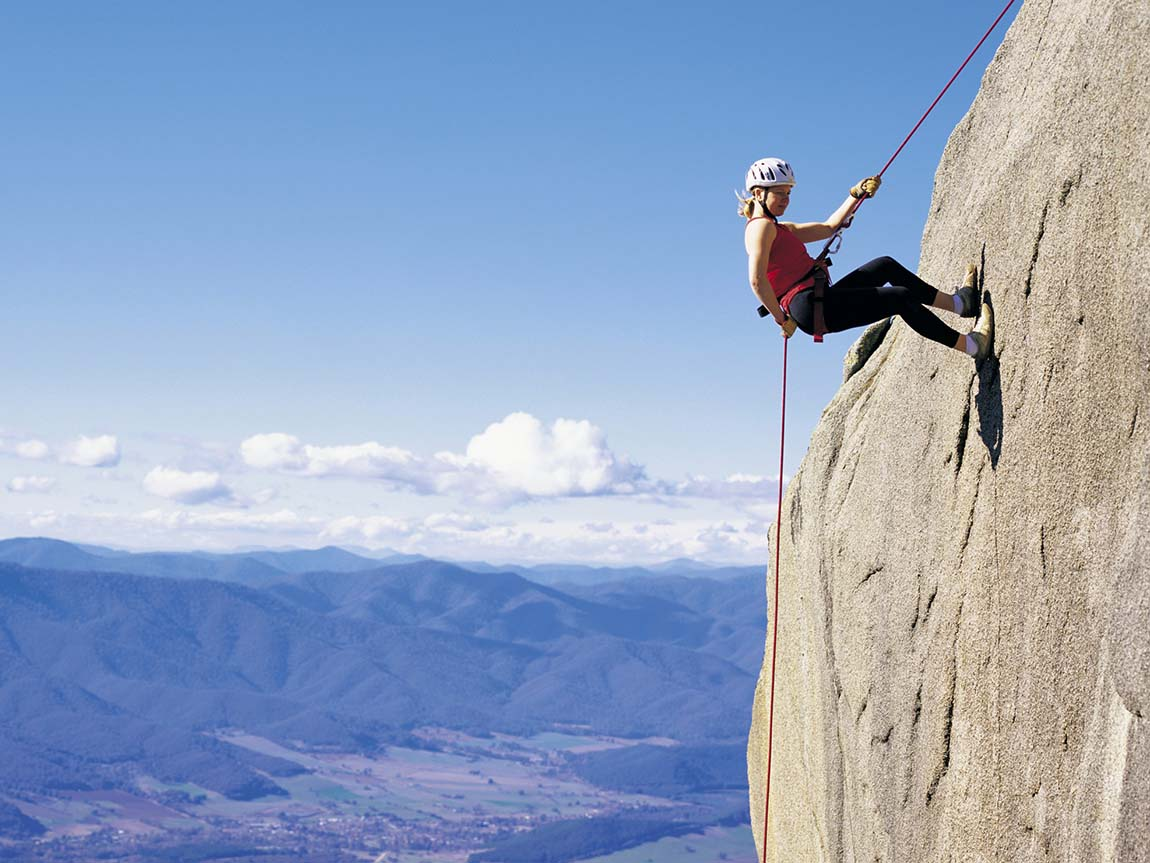 Abseiling at Mount Buffalo, High Country, Victoria, Australia
