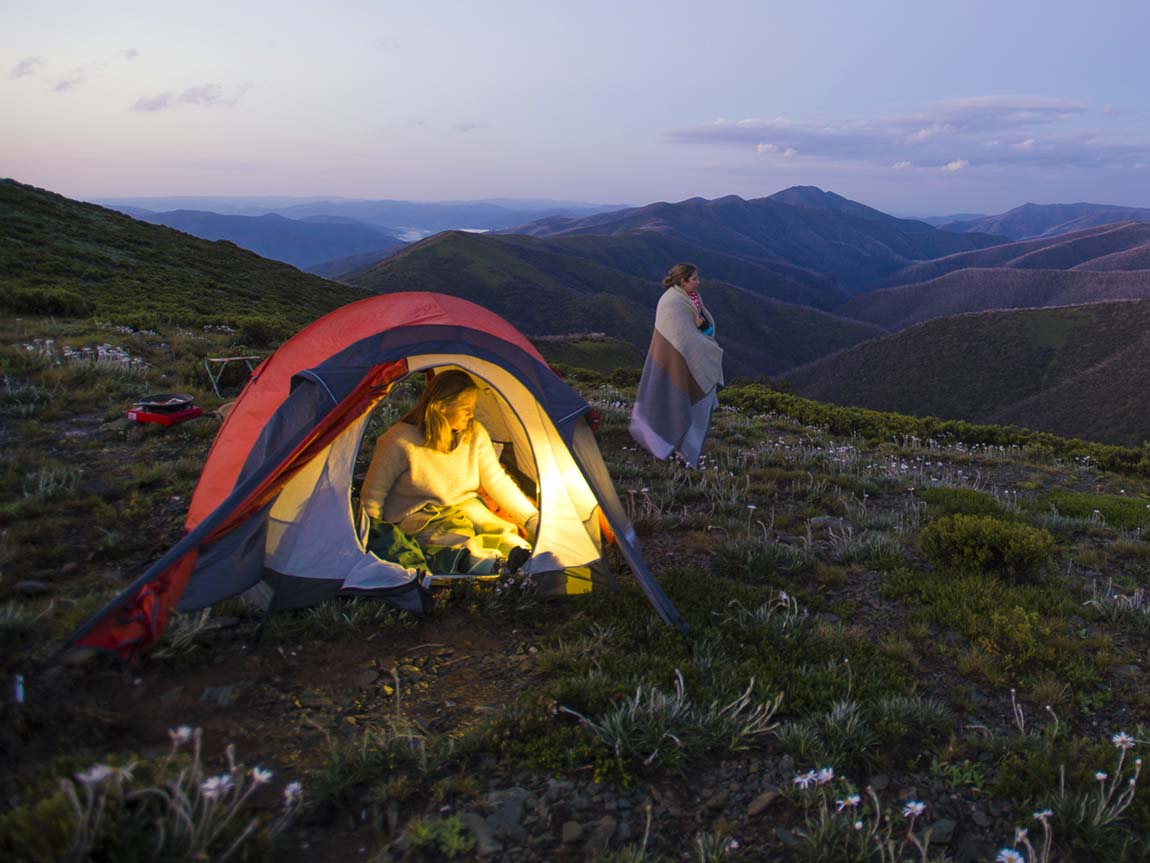 Camping, Falls to Hotham Alpine Crossing, High Country, Victoria, Australia