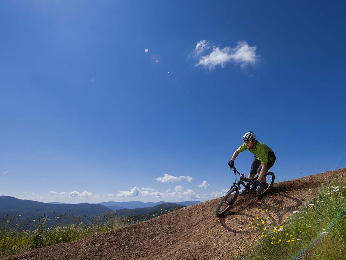 Downill mountain biking at Mount Buller, High Country, Victoria, Australia