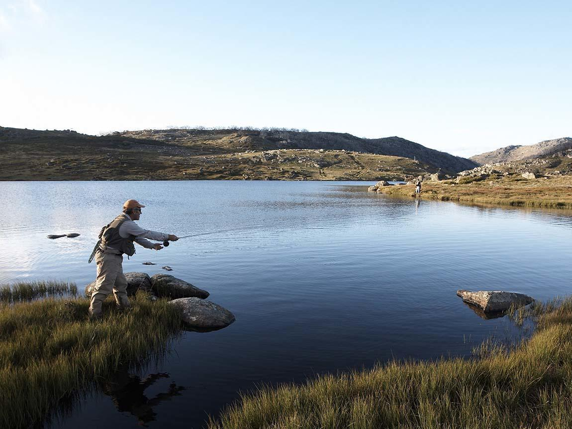 Fishing at Falls Creek, High Country, Victoria, Australia