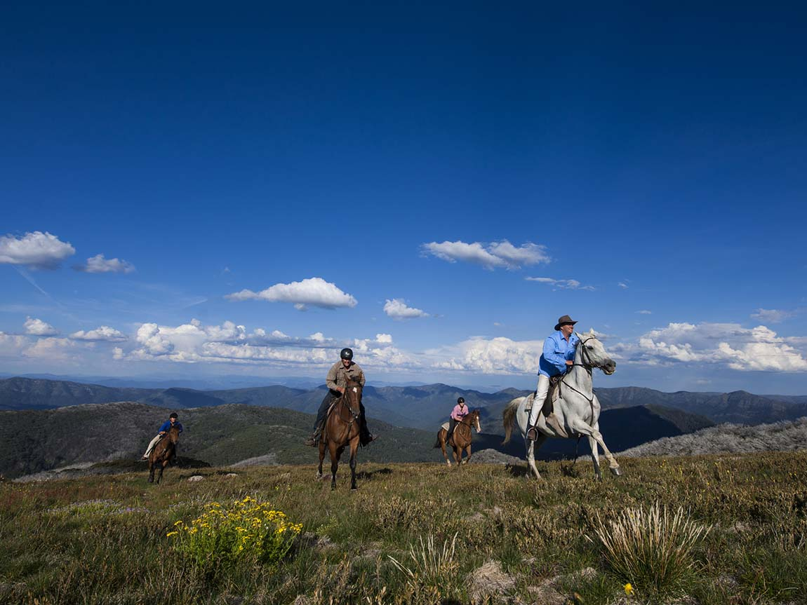 Horse riding at Mount Stirling, High Country, Victoria, Australia