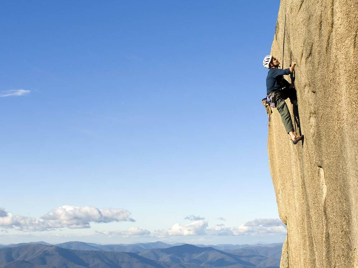 Rock climbing at Mount Buffalo, High Country, Victoria, Australia