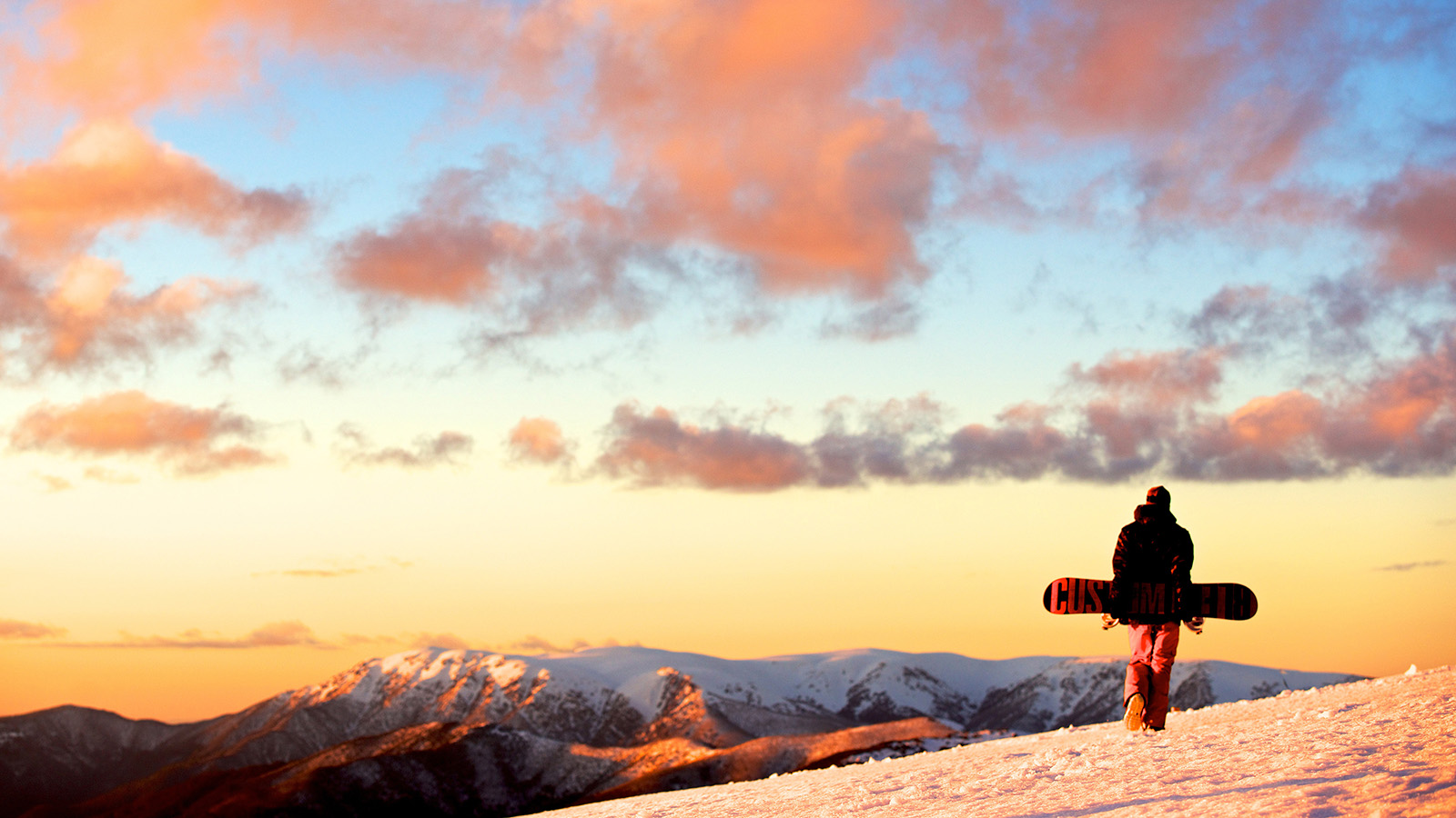 Snowboarder at Falls Creek, High Country, Victoria, Australia