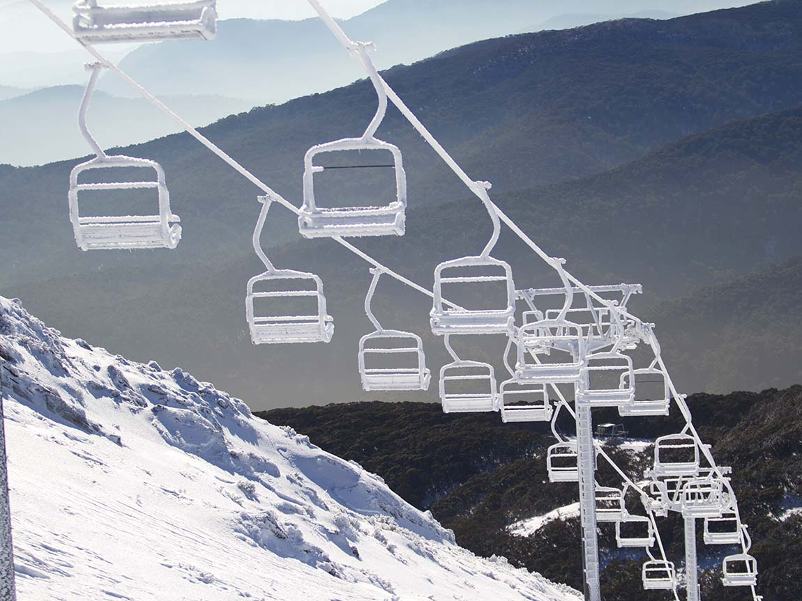 Chair lifts at Mount Buller, High Country, Victoria, Australia. Photo: Shannon Pawsey, courtesy Mt Buller