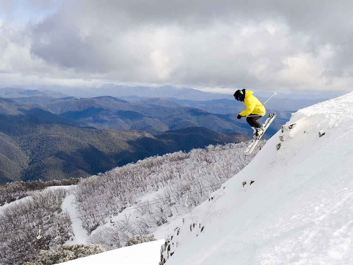 Skiing at Mount Buller, High Country, Victoria, Australia. Image: Andrew Railton, courtesy Mt Buller