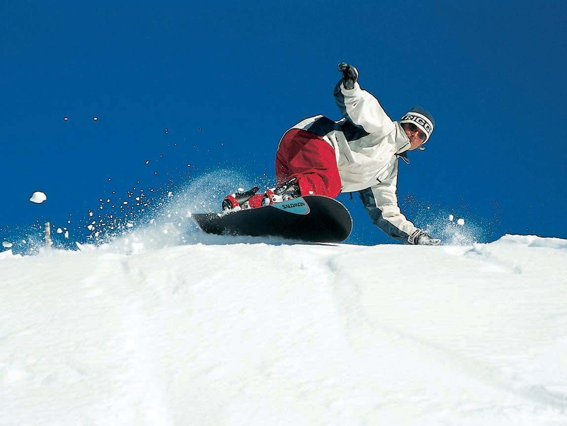 Snowboarding at Falls Creek, High Country, Victoria, Australia