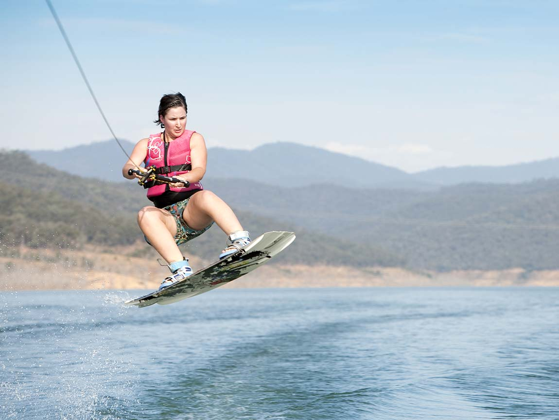 Wakeboarding on Lake Eildon, High Country, Victoria, Australia