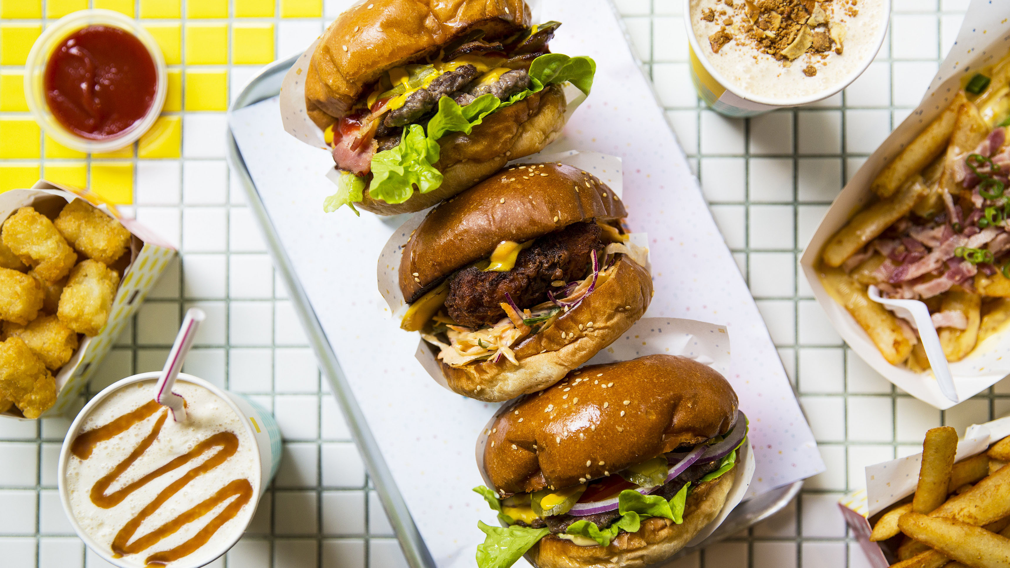 Burgers from 8 Bit, Melbourne. Photo: Josie Withers.