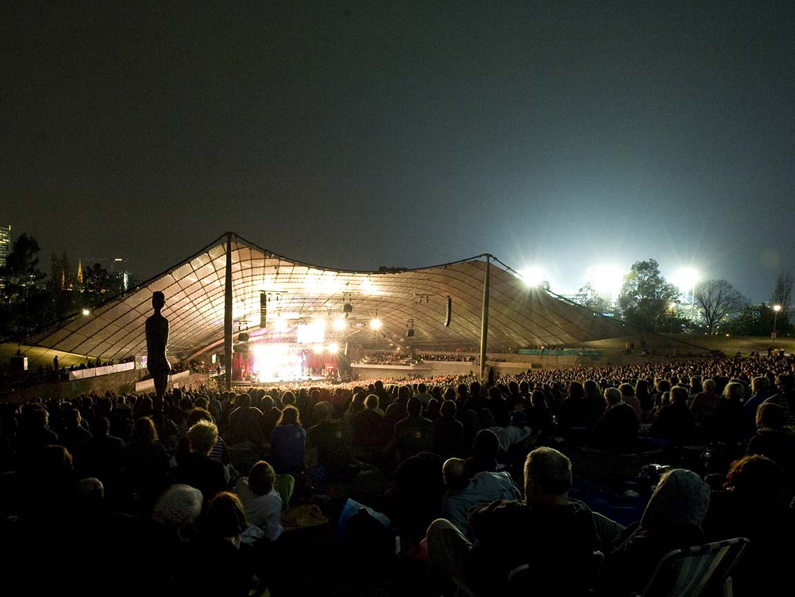 Nighttime audience at the Sidney Myer Music Bowl, Melbourne, Victoria, Australia