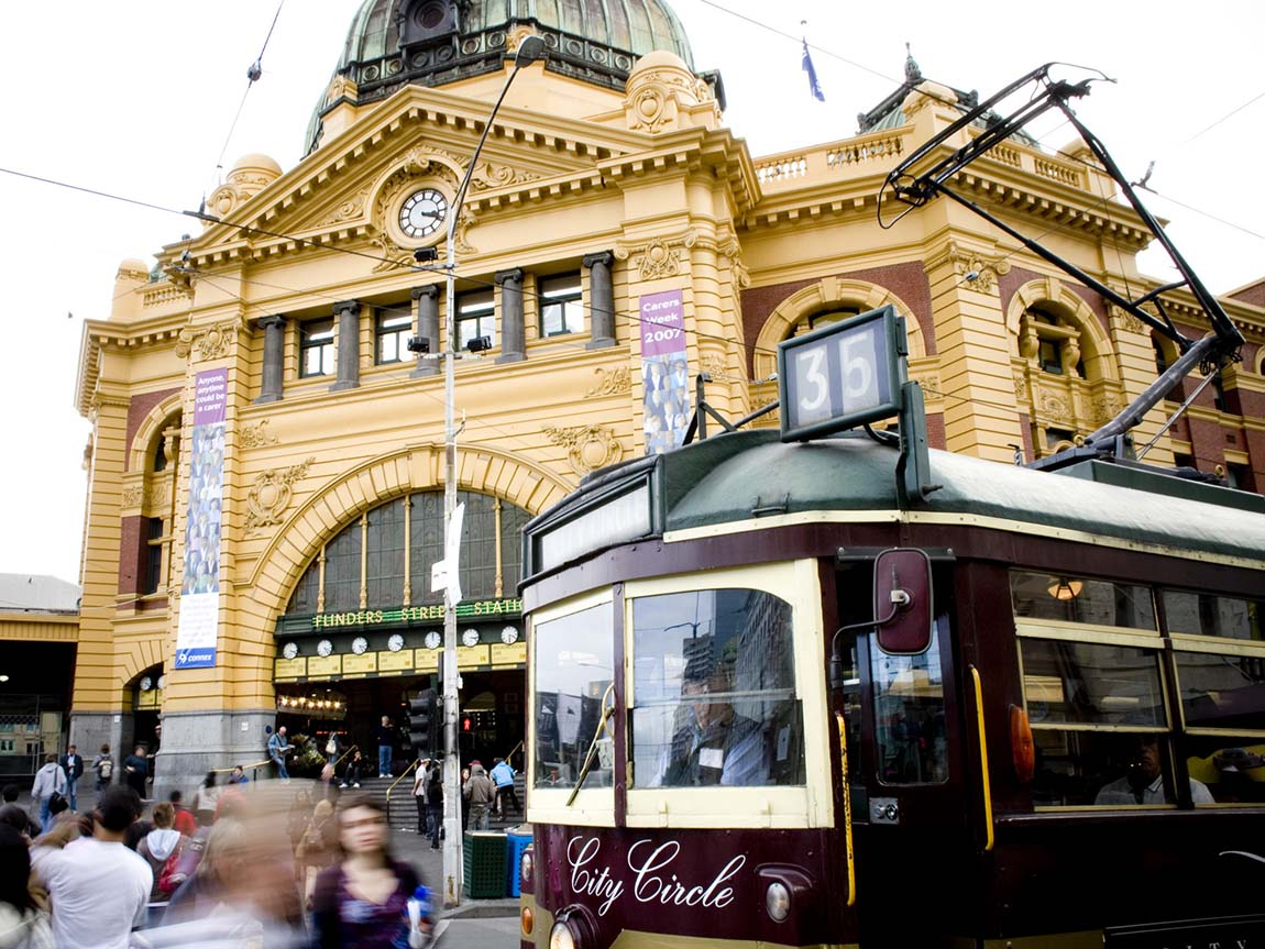 City Circle Tram at Flinders Street Station, Melbourne, Victoria, Australia