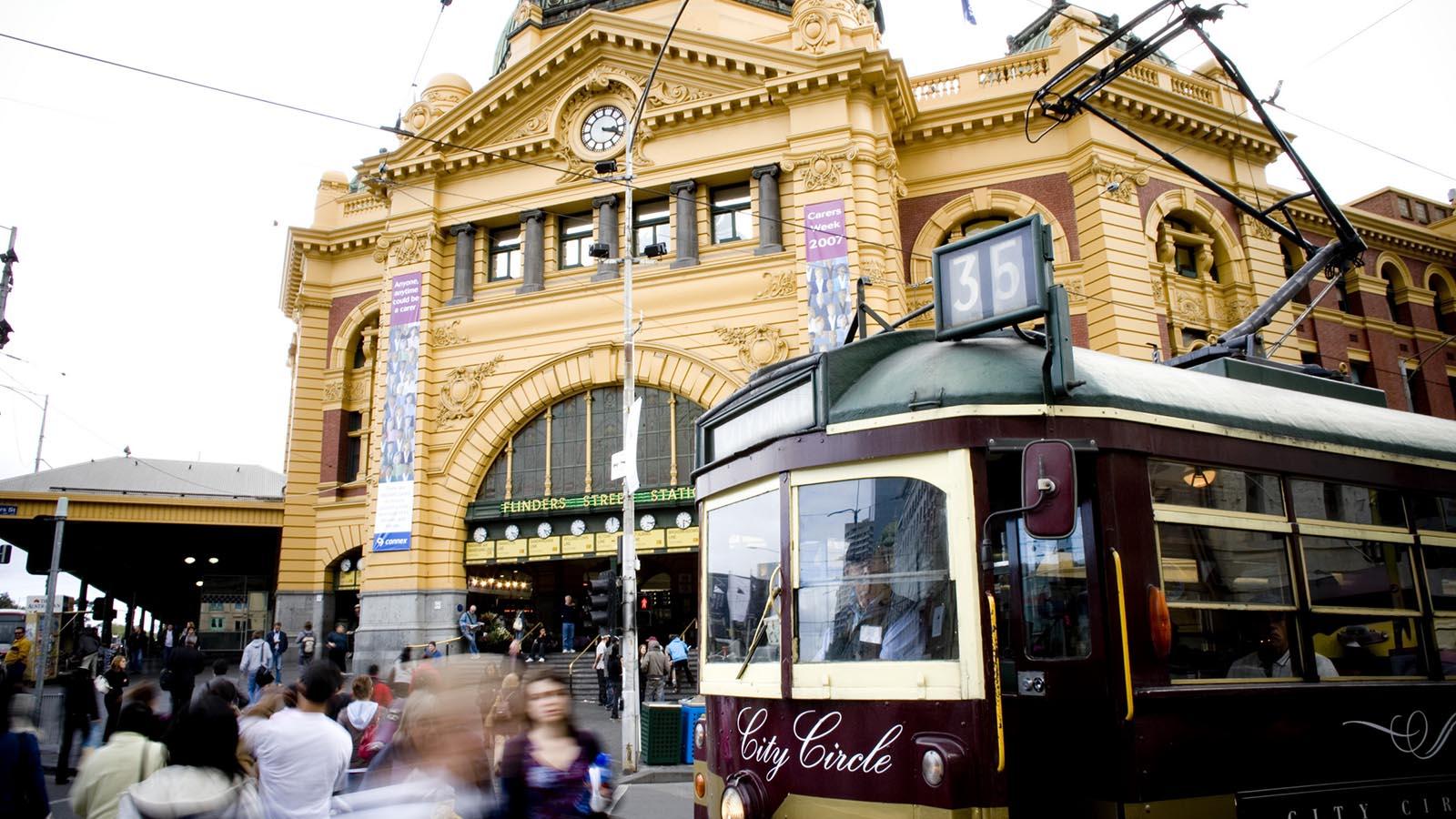 City Circle Tram at Flinders Street Station, Melbourne, Victoria, Australia