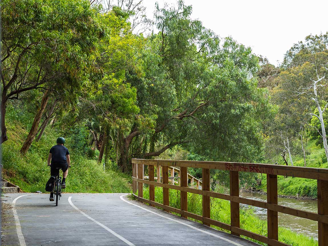 Cycling in Abbotsford, Melbourne, Victoria, Australia