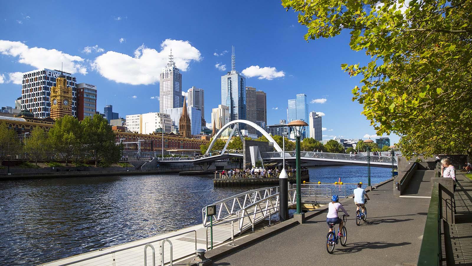 Cycling, Southbank, Melbourne, Victoria, Australia