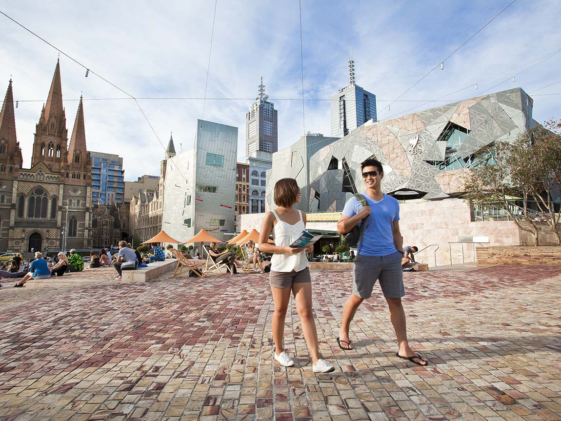 Couple at Federation Square, Melbourne, Victoria, Australia