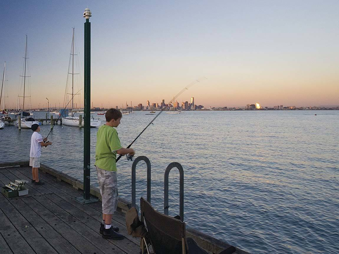 Fishing at Williamstown, Melbourne, Victoria, Australia. Photo: Parks Victoria