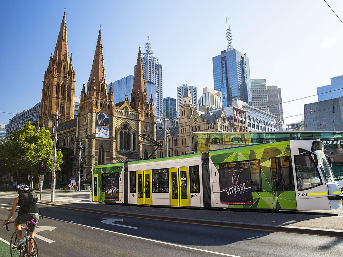 Tram on Swanston Street, Melbourne, Victoria, Australia