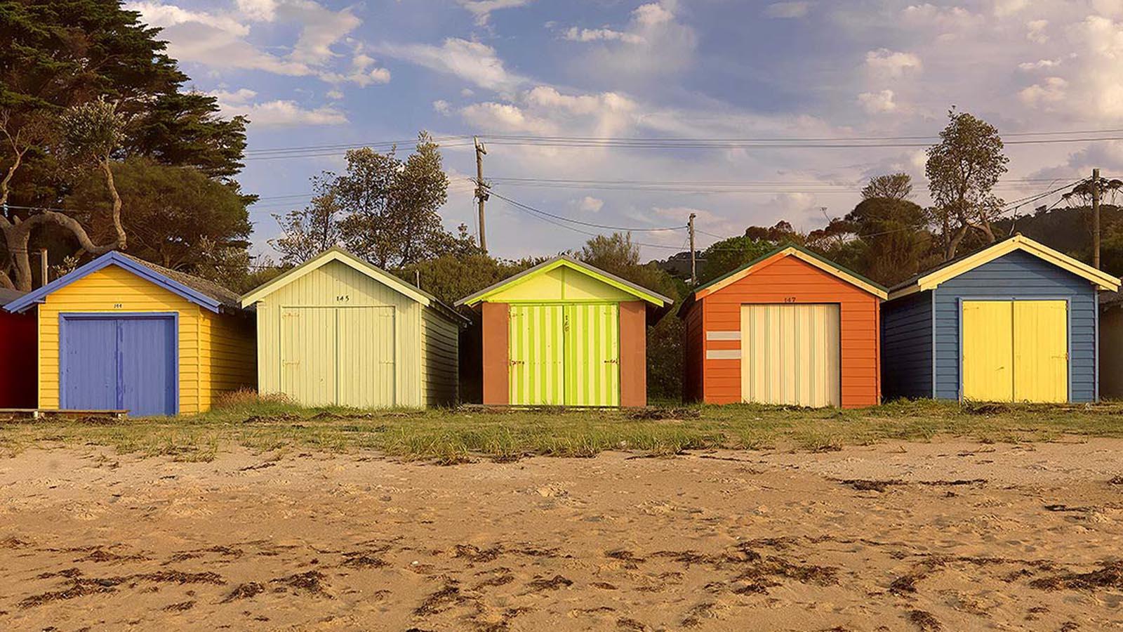Beach boxes at Dromana, Mornington Peninsula, Victoria, Australia